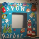 Turquoise &quot;Snow Harbor&quot; - Cute Crafty Hand Painted Picture Frame for Kids (8 in x 8 in)