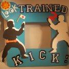 Turquoise &quot;Trained 2 Kick&quot; - Cute Crafty Hand Painted Picture Frame for Kids (8 in x 8 in)