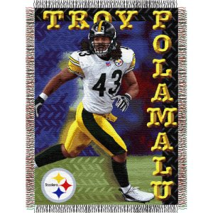 "Troy Polamalu #43 Pittsburgh Steelers NFL Woven Tapestry Throw Blanket (48""x60"")"