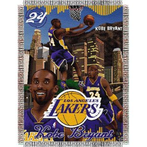 "Kobe Bryant #24 Los Angeles Lakers NBA Woven Tapestry Throw Blanket (48""x60"")"