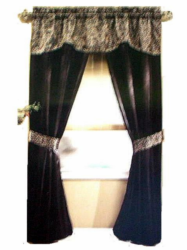 Black Leopard Print Complete Window Curtains Set