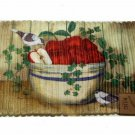 Apples Birds Braided Kitchen Rug