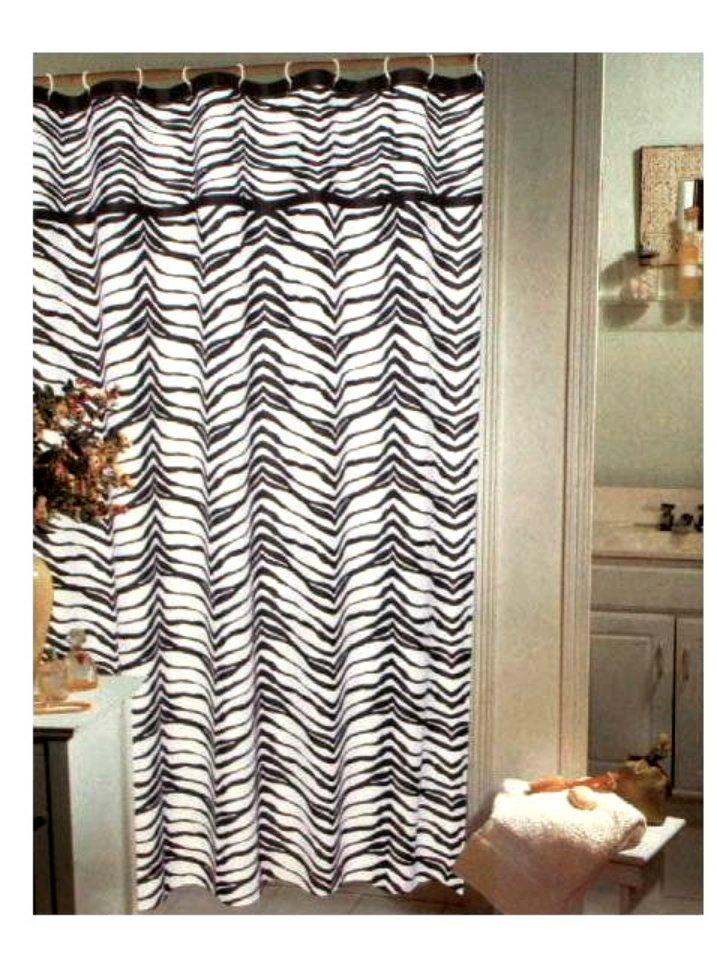 Popular Bath Zebra Stripe Fabric Shower Curtain
