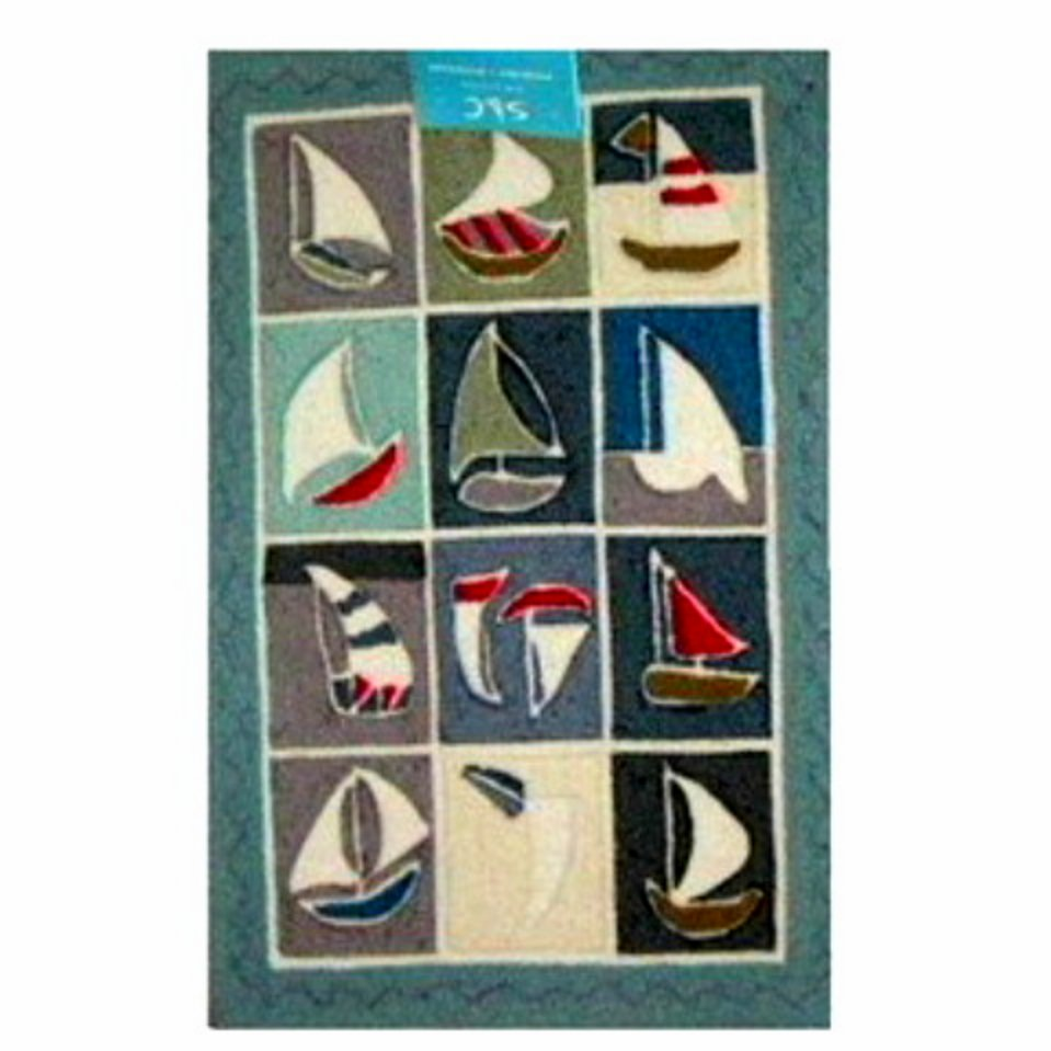 Beach Themed Nautical Sailboats Area Rug