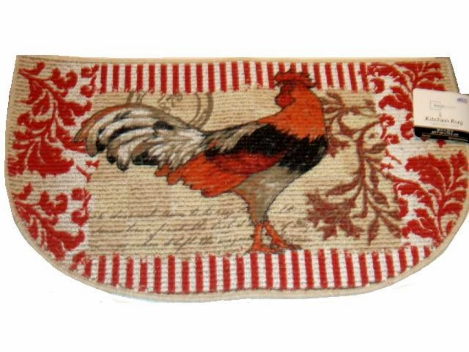 Country rooster kitchen rug for Country style kitchen rugs