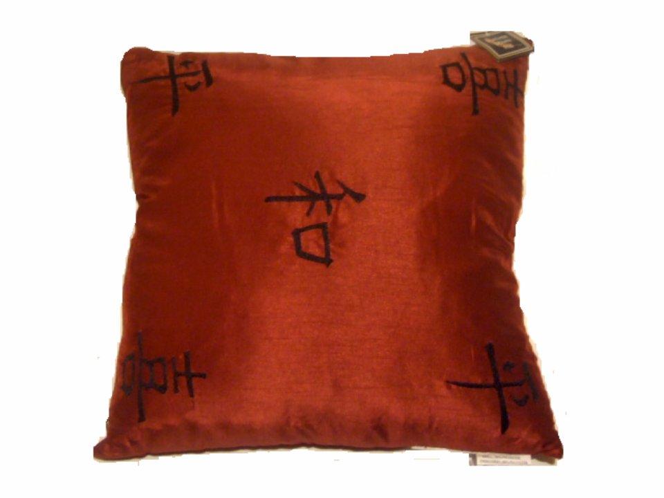 Red Black Asian Oriental Throw Pillow