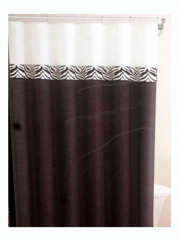 Black White Zebra Stripe Fabric Shower Curtain and Hooks