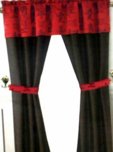 Asian Oriental Themed Complete Curtains Set