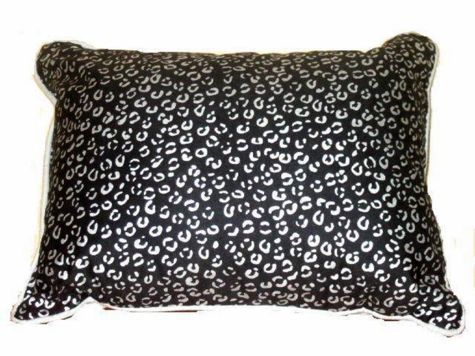 Black Gray Cheetah Print Toss Pillow