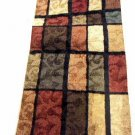 Contemporary Floral Block Rug Runner