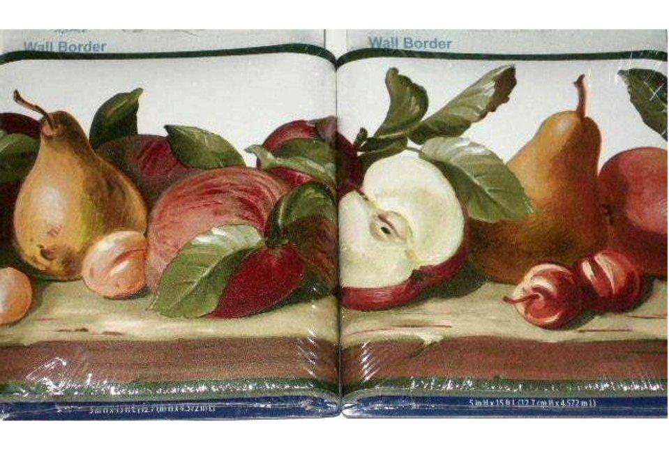 Fruit Themed Wallpaper Border Apples Cherries Pears