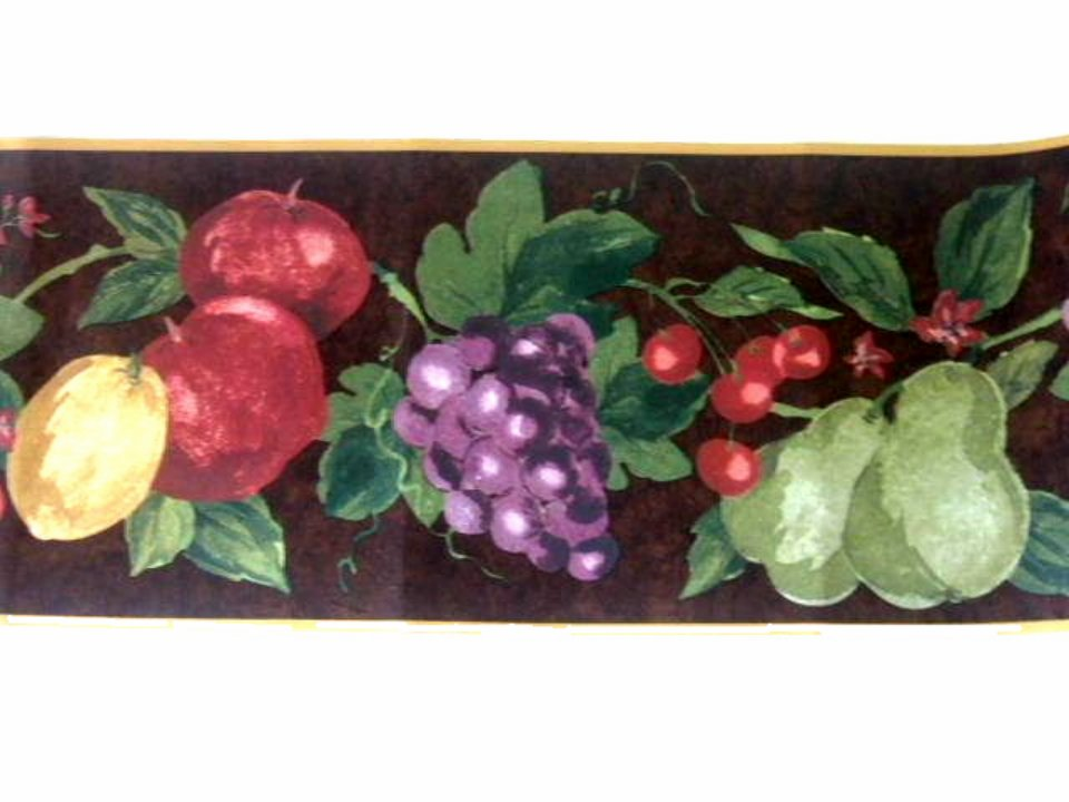 Fruit Wallpaper Border Apples Grapes Pears Cherries