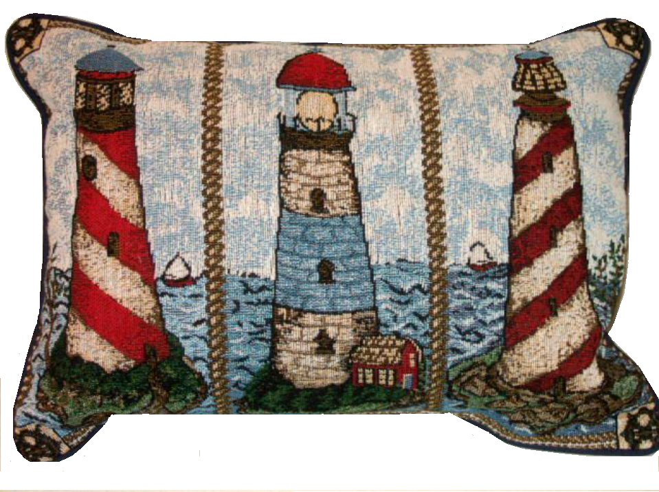 Nautical Lighthouses Pillow Beach Decor