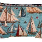 Nautical Sailboats Throw Pillow Beach Decor
