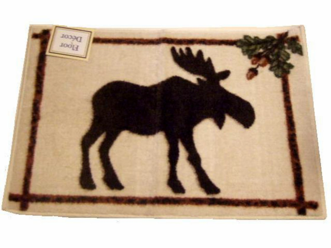 Moose Rug Acorns Lodge Cabin Decor