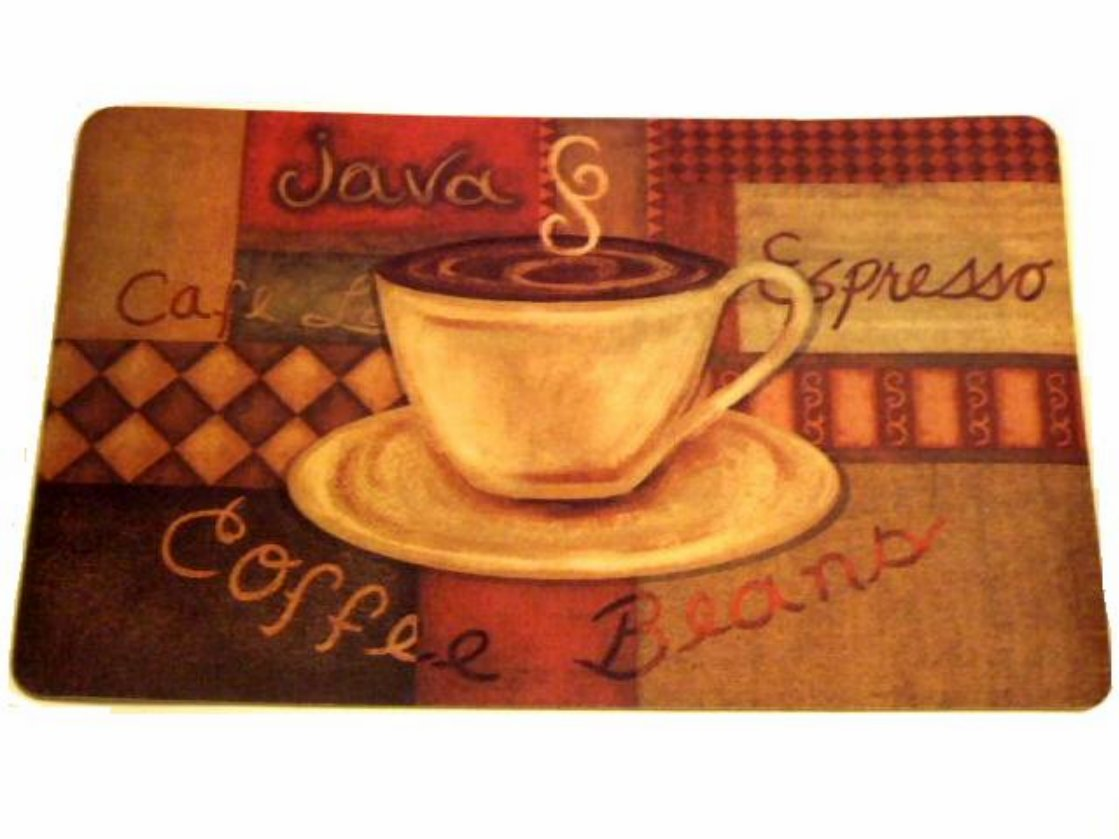 Coffee themed kitchen rug espresso latte cushion mat for Coffee kitchen designs