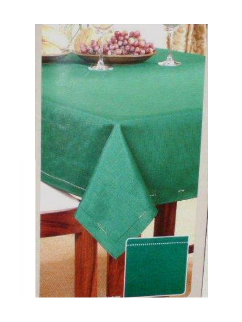 Green Tablecloth Fabric Hemstitch