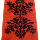Red Black Floral Damask Rug