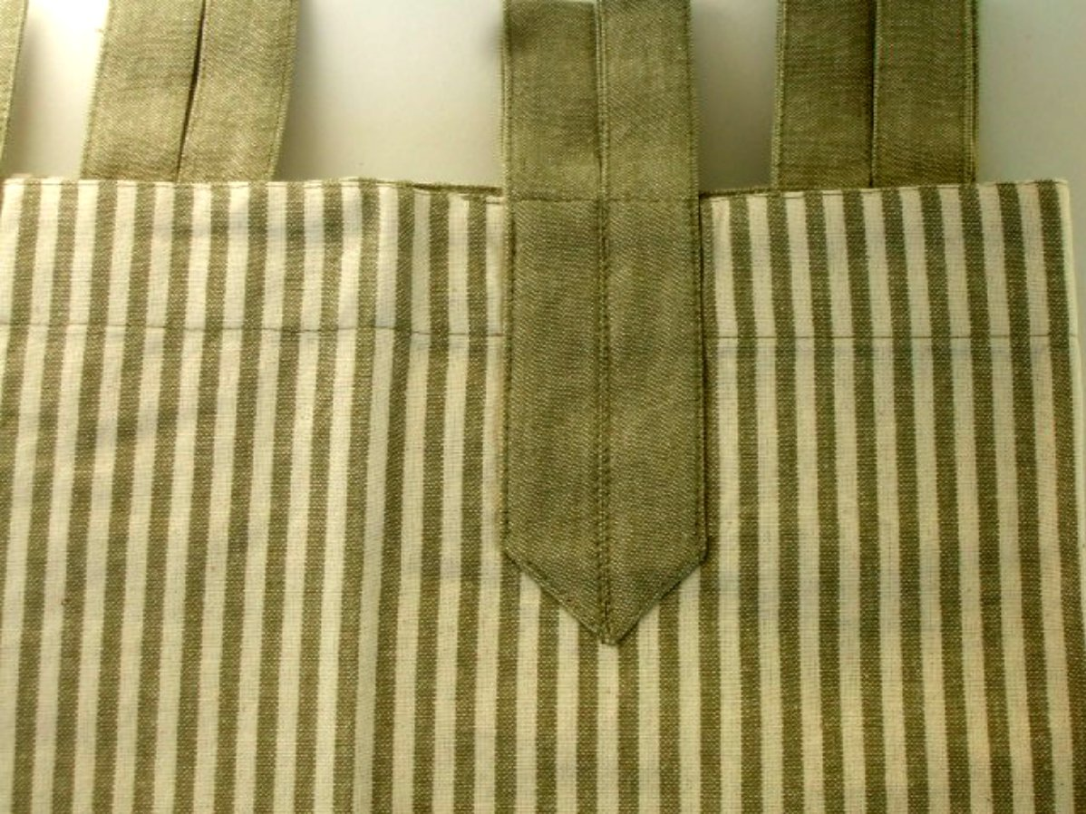 Green Cream Ticking Stripe Cafe' Curtains Park Smith