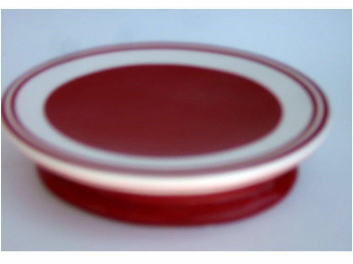 Red Ceramic Stripes Soap Dish