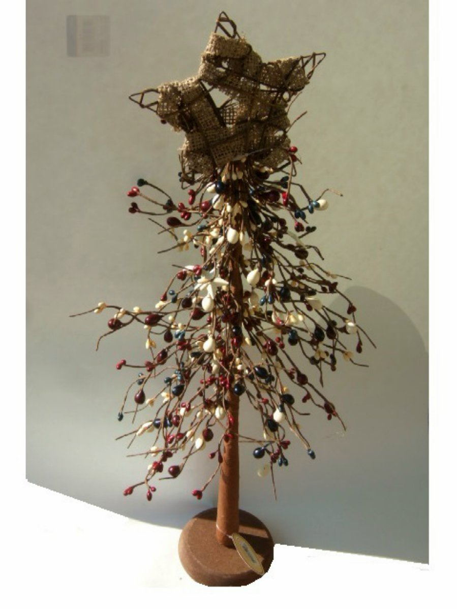 Country Primitive Tree Pip Berries Stars on Stand