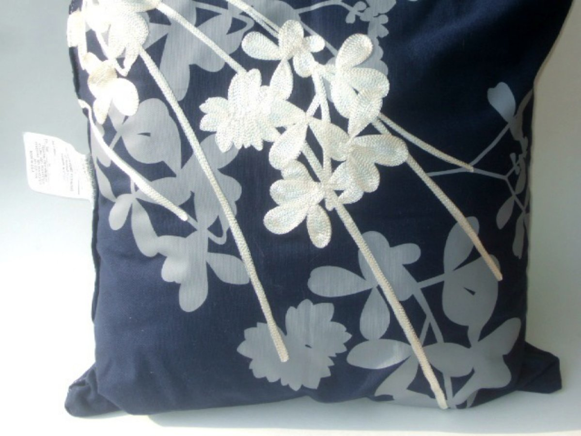 Navy Blue Floral Pillow White Gray Embroidered Flowers
