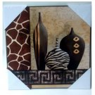 African Vases Animal Print Wood Plaque