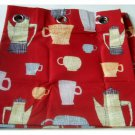 Coffee Cups Kitchen Curtains Tiers Pair
