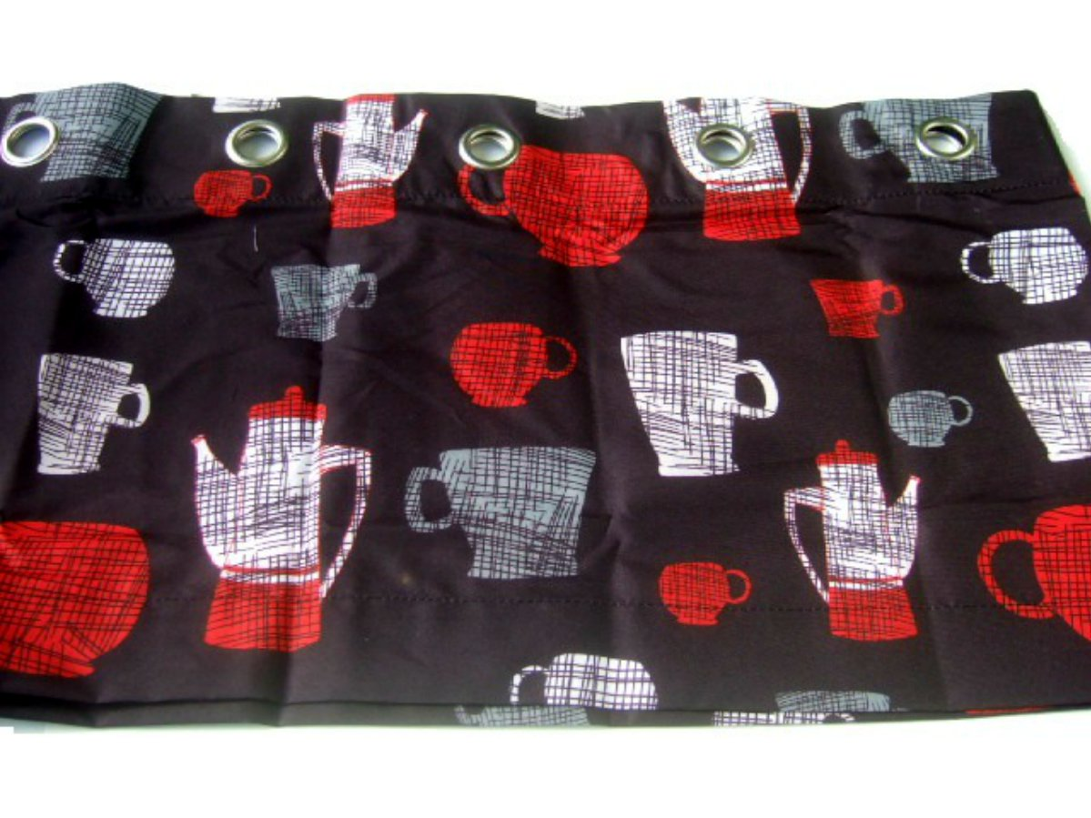 Black Coffee Cups Window Valance Kitchen Curtains