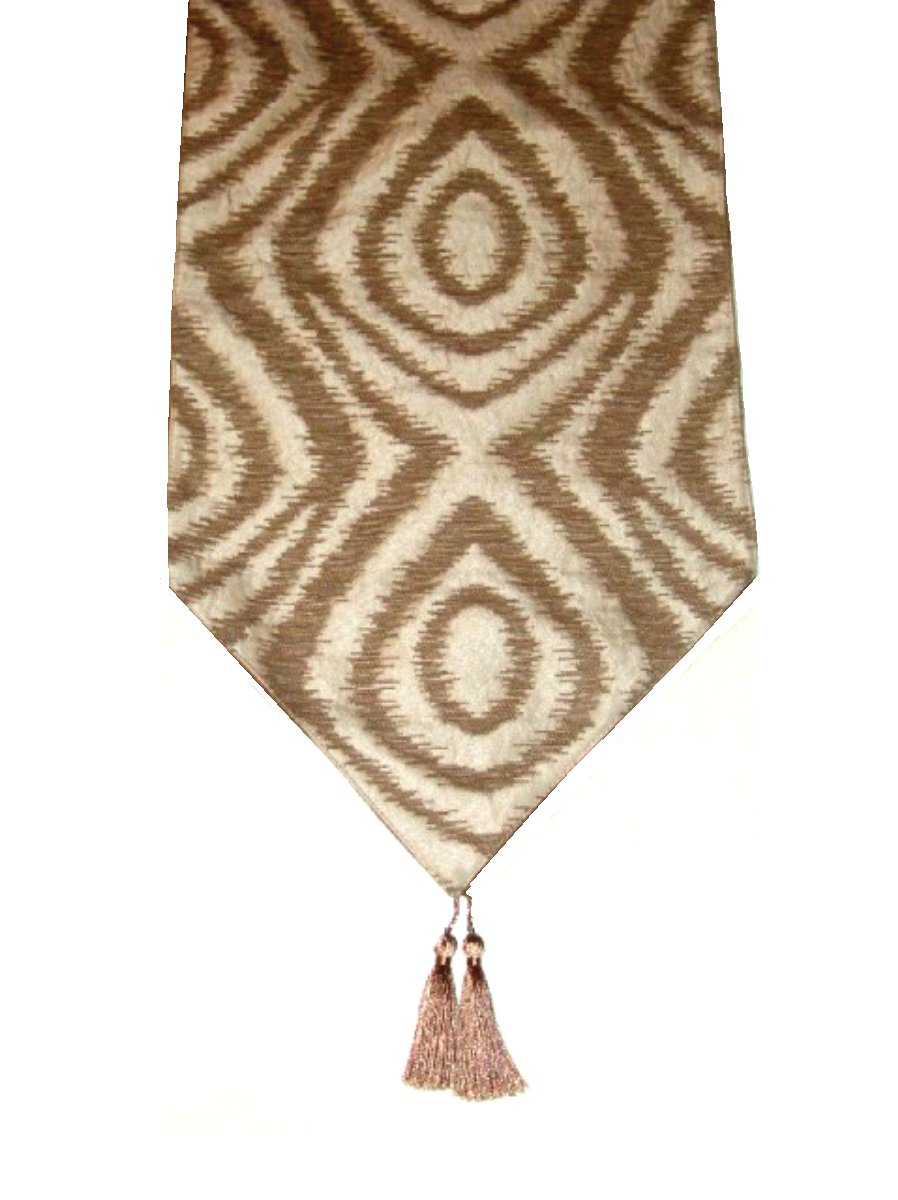 Beige Brown Ikat Table Runner
