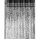 Gray Geometric Flock Fabric Shower Curtain