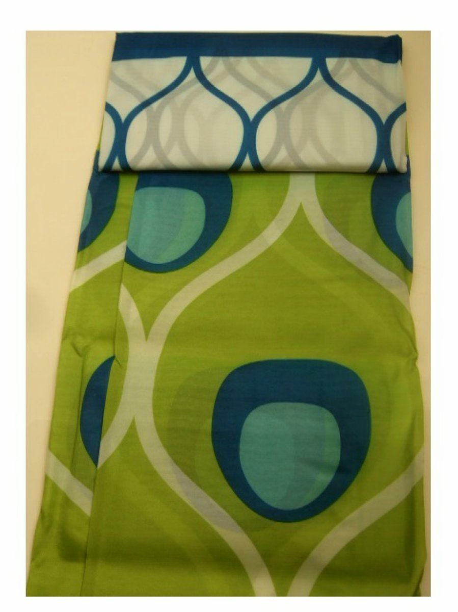 Lime Green  Blue Peacock Design Fabric Shower Curtain with Beaded Roller Hooks