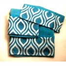Geometric Teal Turquoise Bath Towel Set