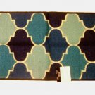 Blue Fretwork Trellis Design Accent Rug