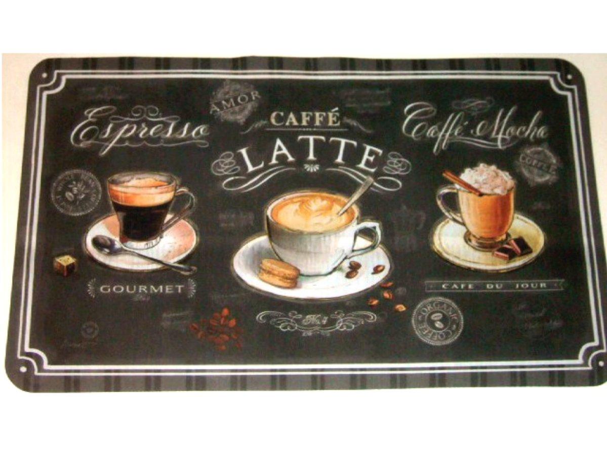 Black Coffee Cups Kitchen Rug