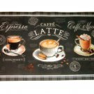 Black Coffee Cups Kitchen Rug
