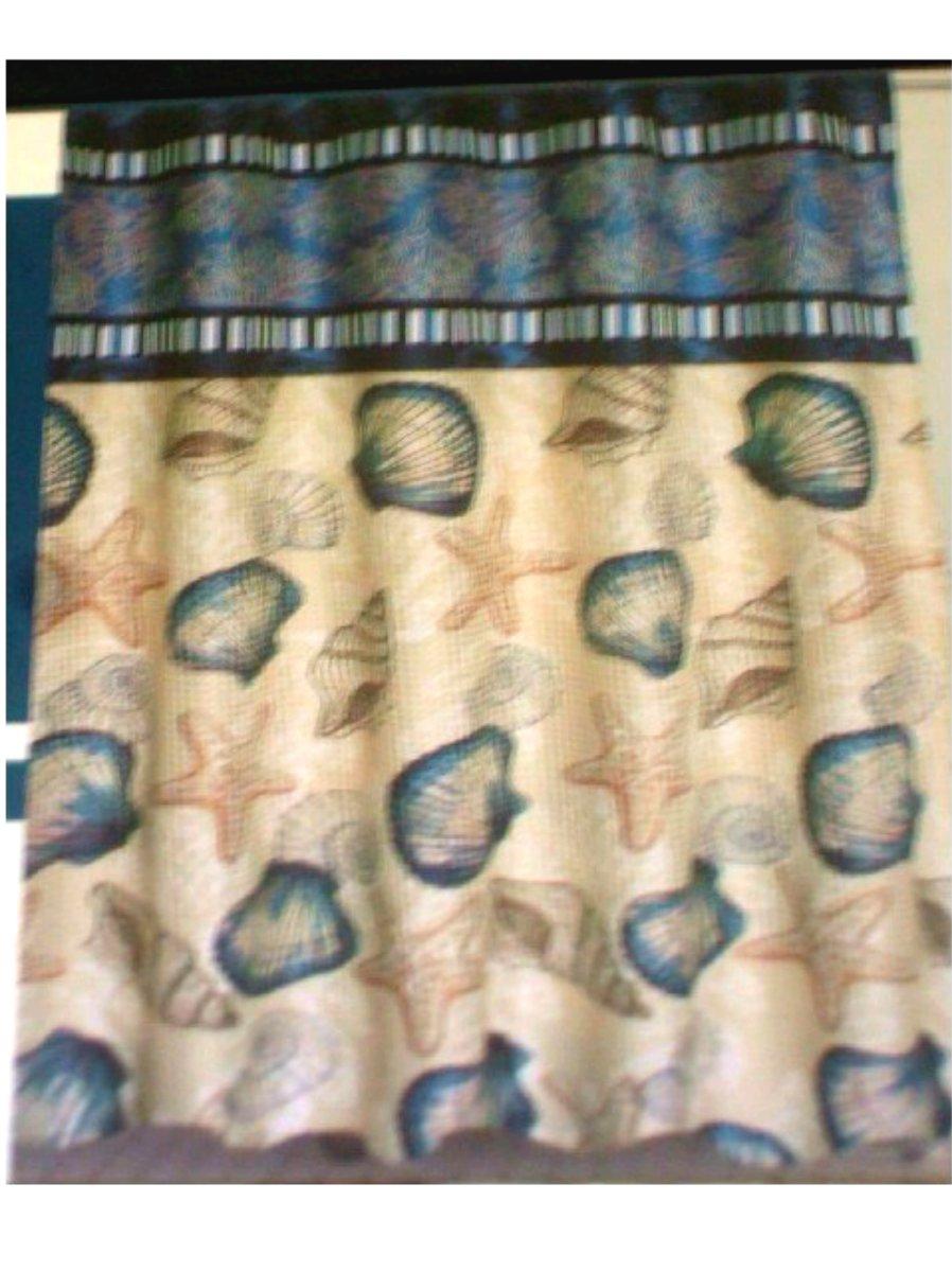 Seashells Starfish Fabric Shower Curtain with Beaded Roller Hooks