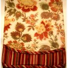 J C Penney Floral Stripes Window Curtains Tab Top Valance