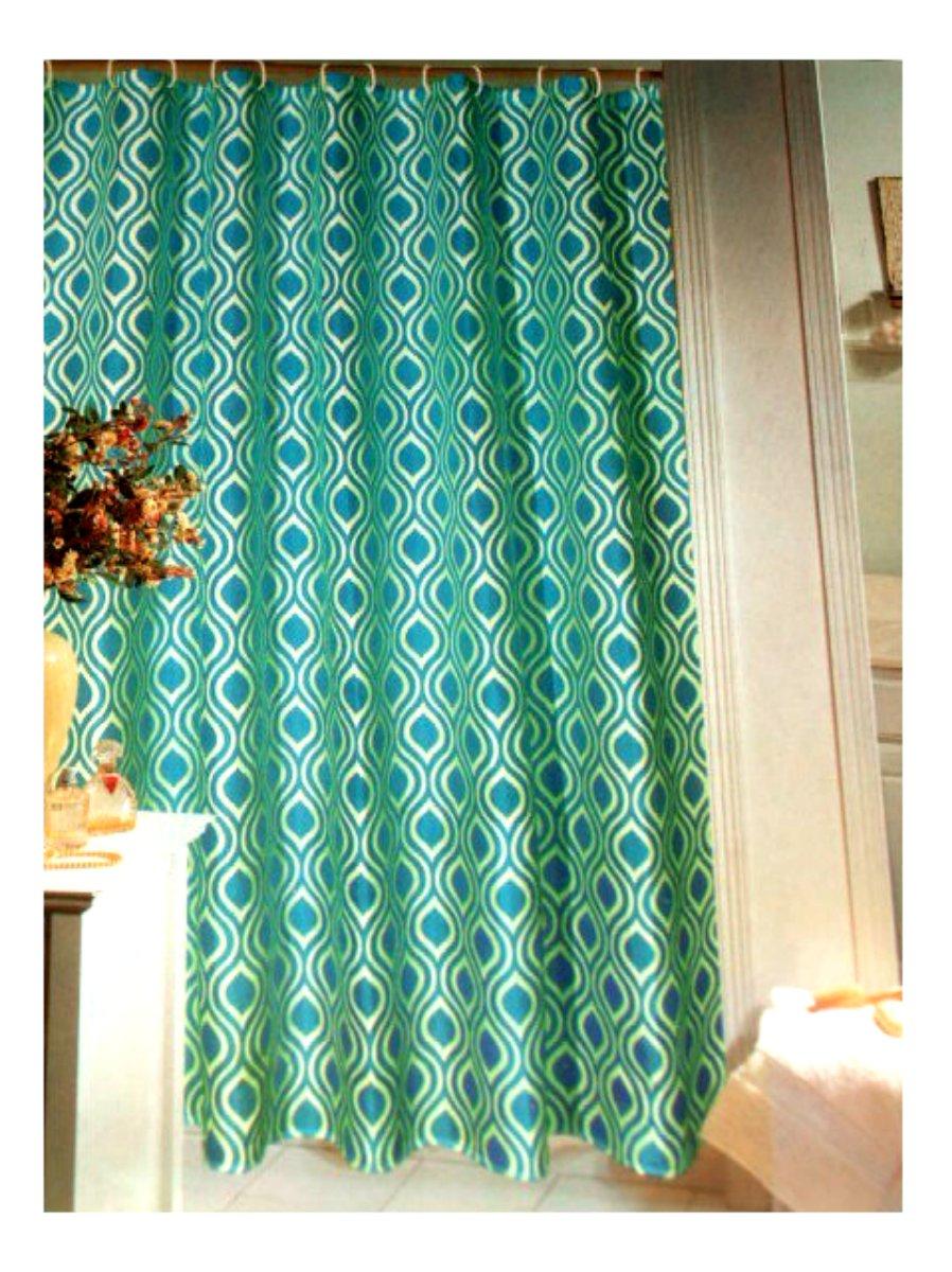 Geometric Teal Fabric Shower Curtain