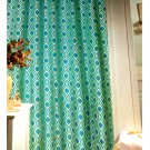 Geometric Teal Fabric Shower Curtain