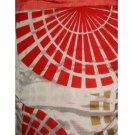 Geometric Circles Coral Fabric Shower Curtain