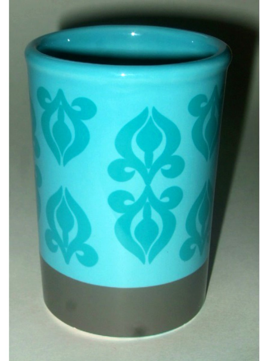 Gray Turquoise Teal Ceramic Bathroom Tumbler