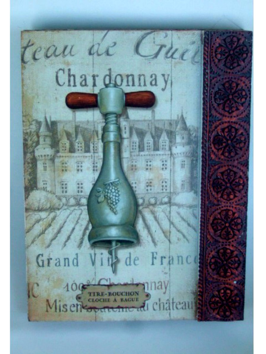French Chateau Chardonnay Wine Plaque Wall Decor