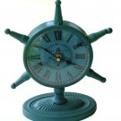 Nautical Ship Wheel Metal Table Clock