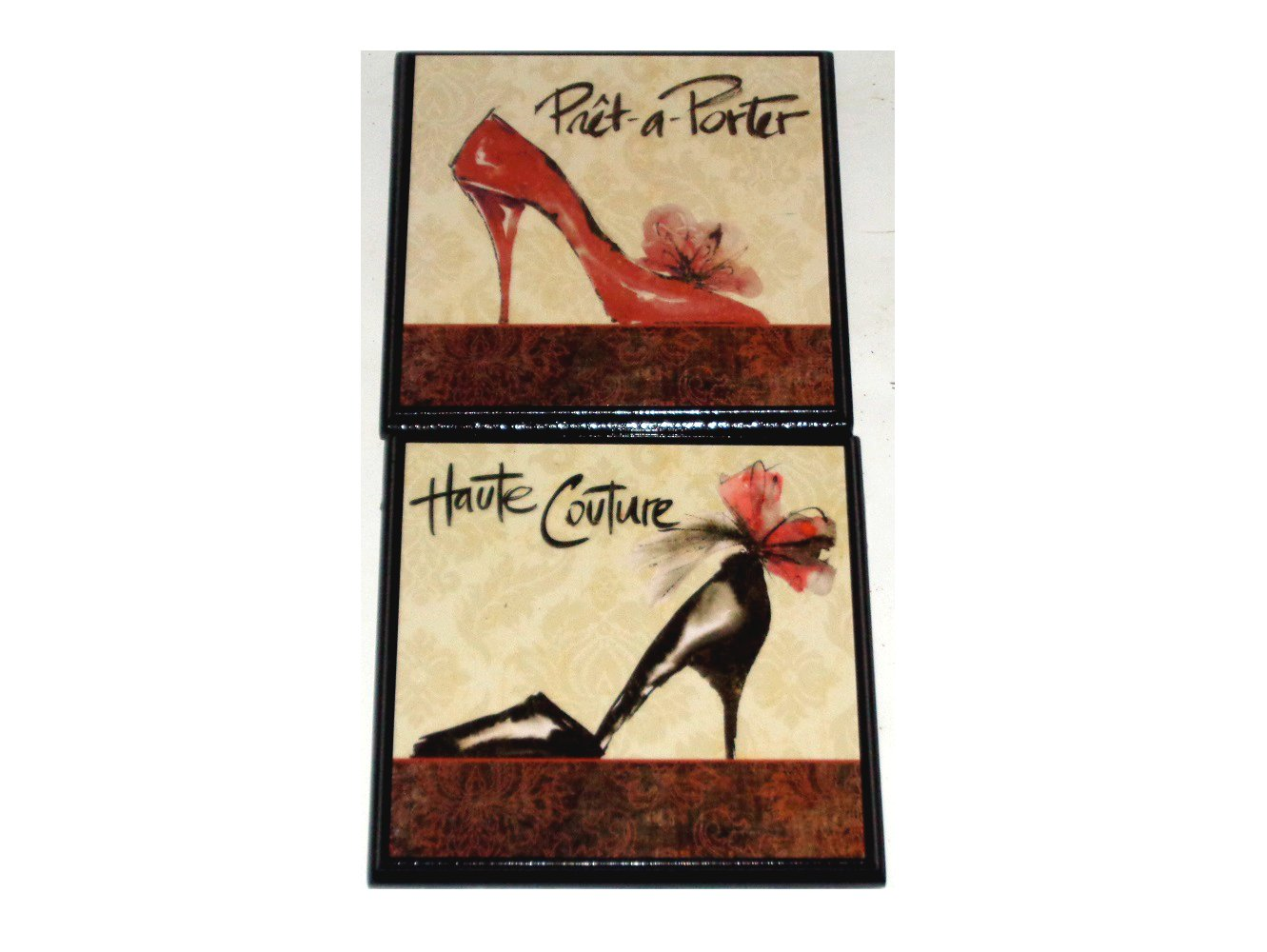 Red Black Shoes Wall Plaque Set