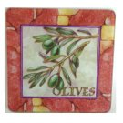 Tuscan Olives Glass Trivet Hot Pad
