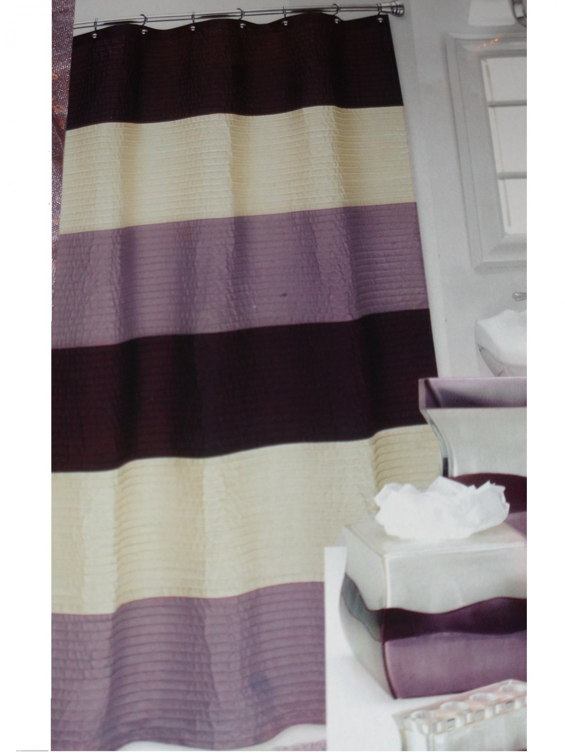 Popular Bath Reflection Lilac Cream Brown Striped Shower Curtain