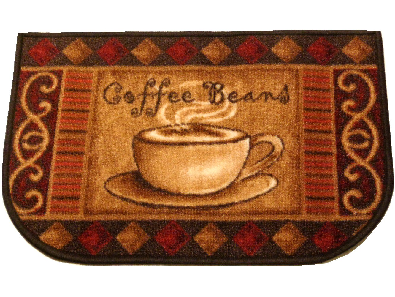 Coffee Cup Kitchen Rug Coffee Beans Mat