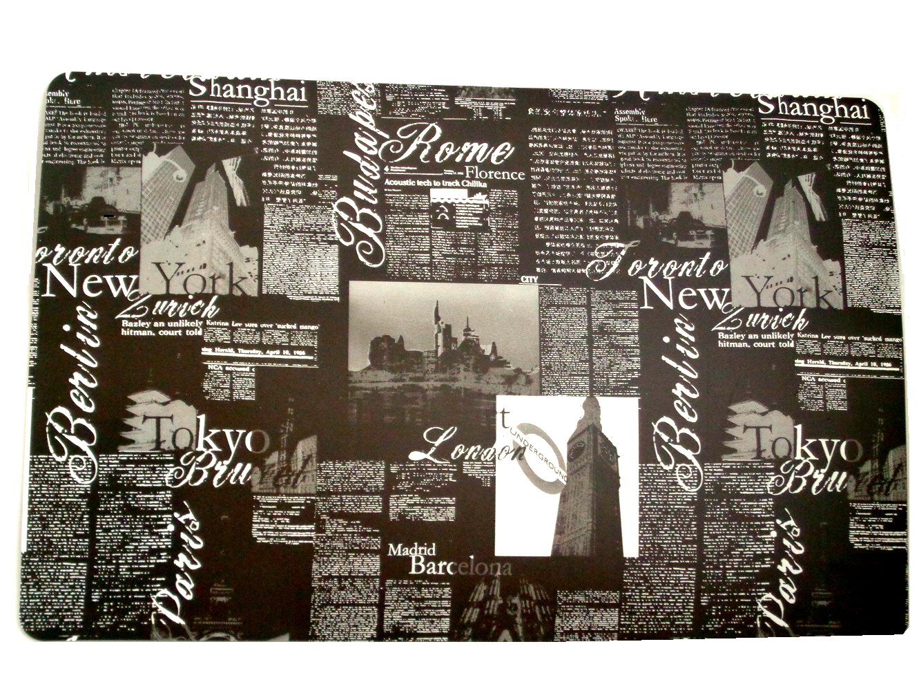Tokyo New York London Paris Black Placemats