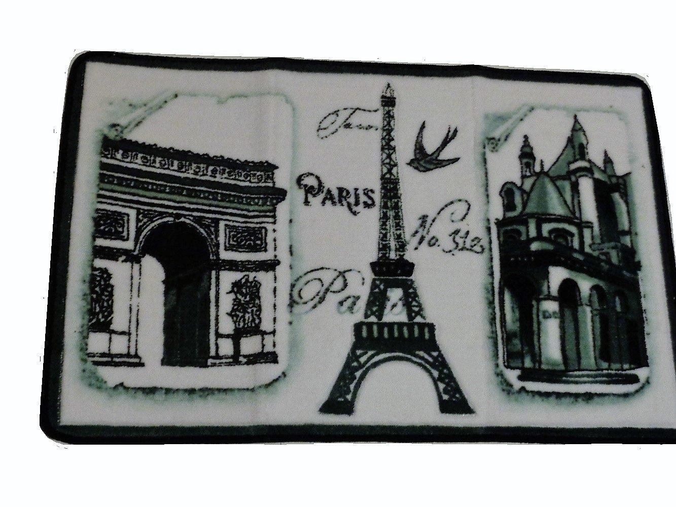 Paris Eiffel Tower French Carved Bath Mat